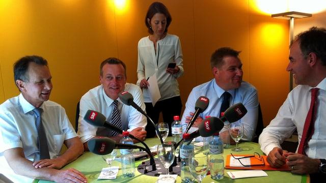 Gesprächsrunde mit Müller, Landolt, Brunner und Darbellay und Moderatorin Pestalozzi.