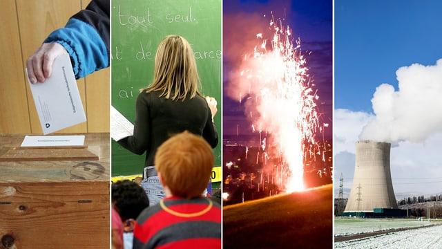 Fotomontage mit Schulklasse, Vulkan und AKW