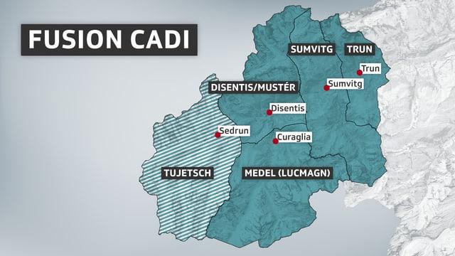 Karte mit den Gemeinden in der Cadi, die über eine Fusion nachdenken