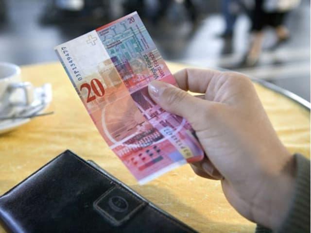 pajar cun ina bancanota da 20 francs