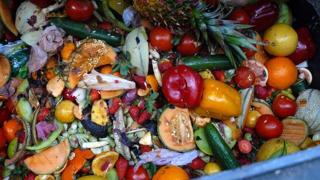 Container voll mit Früchten und Gemüse