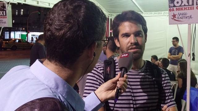 SRF-Reporter mit Gesprächsgast