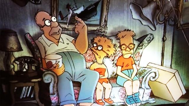 Die Simpsons in Frankreich: im Couch-Gag des französischen Regisseurs Sylvain Chomet.