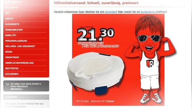 Website mit Angebot eines WC-Aufsatzes.