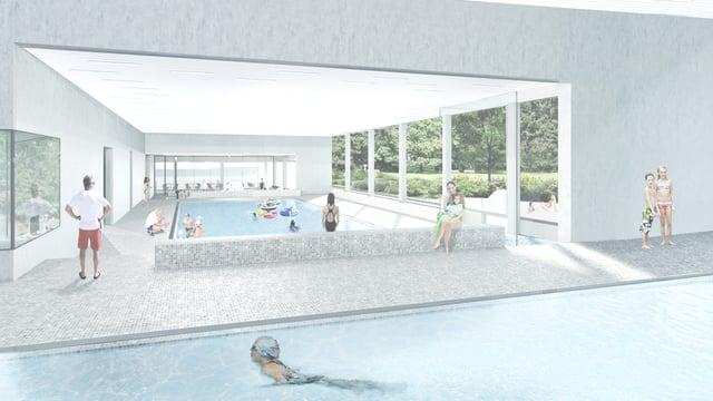 Visualisierung des neuen Hallenbads.