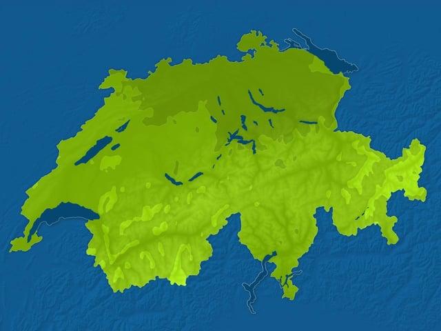 Eine Karte mit den dunklen Flächen auf der Schweiz.