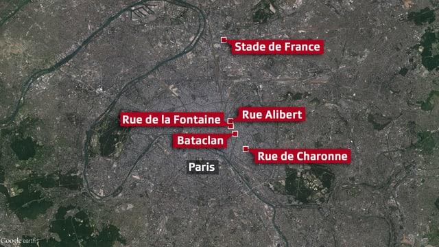 Eine Karte von Paris zeigt die Anschlagsorte.