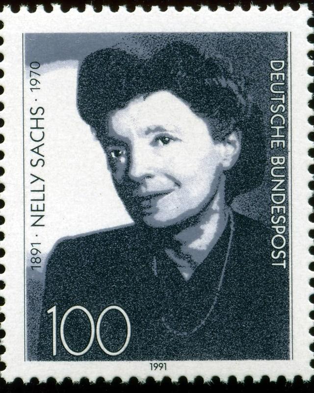 Briefmarke der Deutschen Bundespost zum 100. Geburtstag der Dichterin Nelly Sachs.