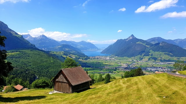 Blick in den Talkessel von Schwyz und zu den umliegenden Bergen.