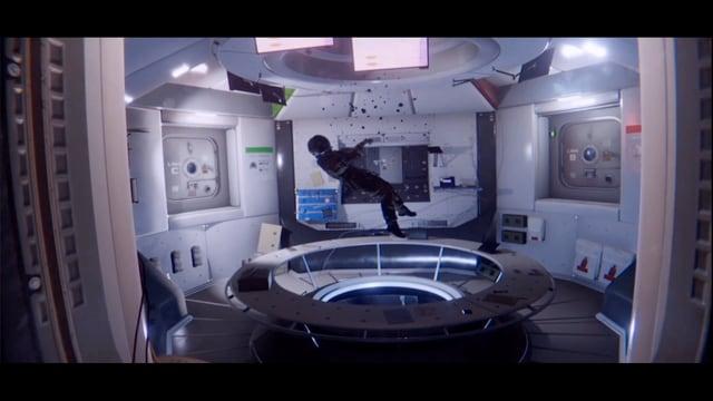 Ein Controllzentrum in dem ein scheinbar lebloser Astronaut schwebt.