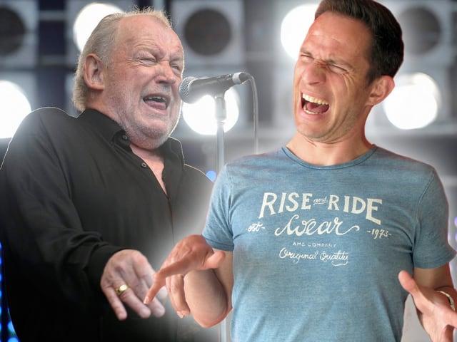 Joe Cocker und Adrian Küpfer auf der Bühne (Bildmontage)