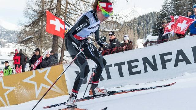Selina Gasparin bei ihrem 1. Langlauf-Weltcup-Rennen in Davos.