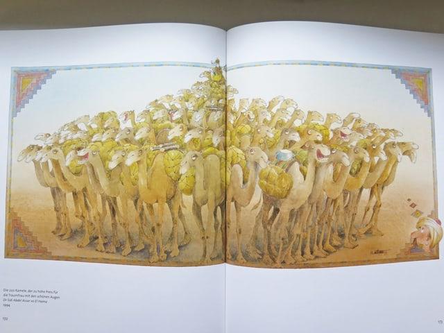 Doppelseite mit 220 gezeichneten Kamelen
