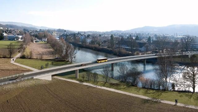 Visulaisierung der geplanten Reussbrücke