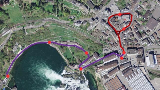 Karte mit den Strecken des selbstfahrenden Busses
