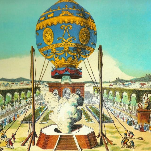 Zeichnung eines blau-gelben Ballons, der in die Luft steigt.