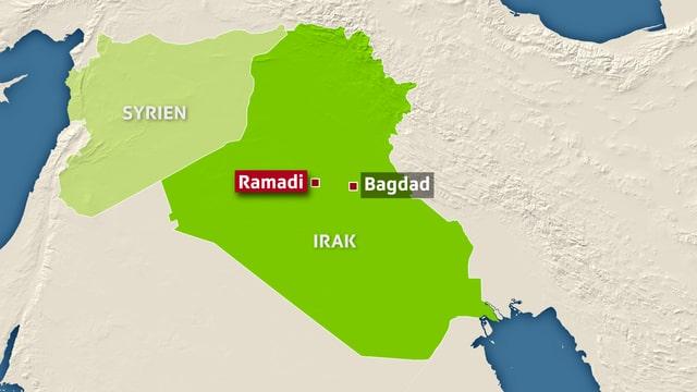 Eine Grafik zeigt Syrien und Irak mit den Städten Ramadi und Bagdad.