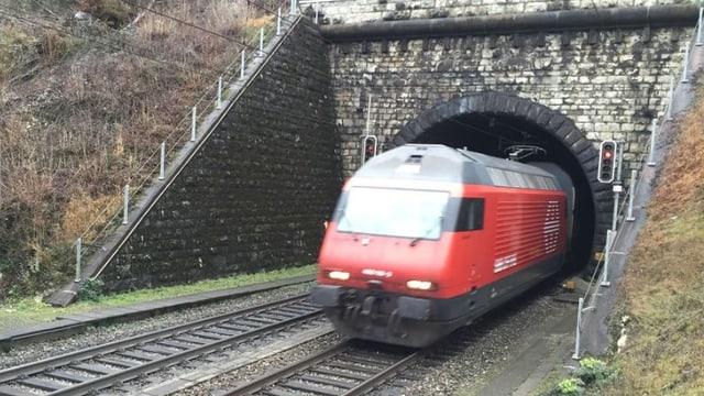 Ein Zug der SBB fährt aus einem Tunnel.
