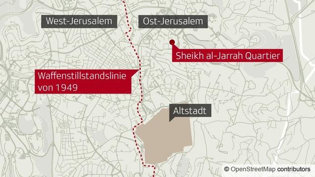 Karte mit dem Quartier Sheikh al-Jarrah in Jerusalem.