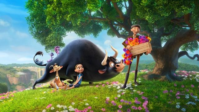 Das Bild zeigt Ferdinand unter seinem geliebten Baum zwischen Blumen, mit Freundin Nina, einer Ziege und Ninas Vater.