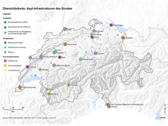 Übersicht über die wichtigsten Asyl-Infrastrukturen des Bundes