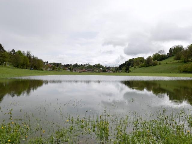 Nach dem kräftigen Regen vom Vortag standen in Seewen (SO) die Felder unter Wasser.