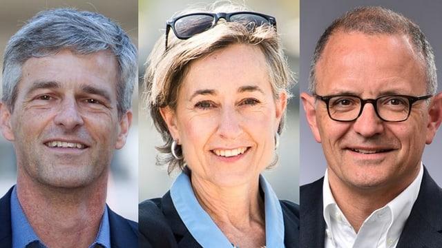Drei Porträts der Kandidaten.
