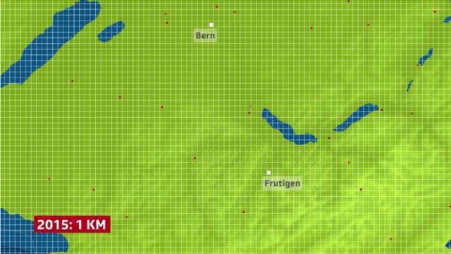 Der Kartenausschnitt zeigt das Berner Oberland. Eines Gitter mit der Maschenweite 1 Kilometer überlagert die Karte.