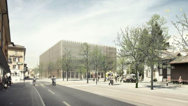 Visualisierung des geplanten Gebäudes für die Gemeindeverwaltung.