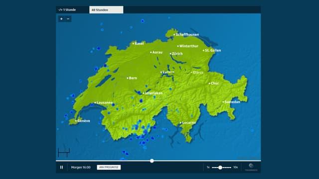 Screenshot der 48-Stundenprognose von srf.ch/meteo