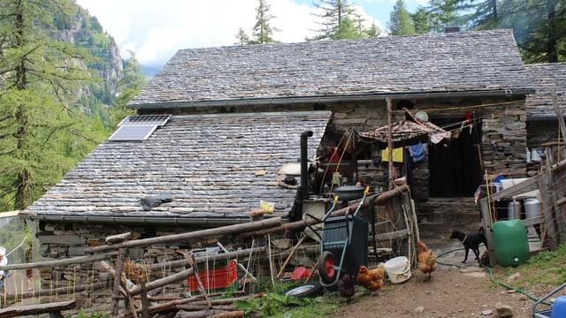 Eine einfach Steinhütte mit Hühnern und einem Hund im Vordergrund.