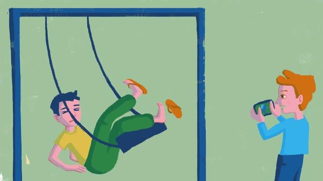Illustration: Ein Junge fällt von einer Schaukel, ein anderer filmt ihn dabei