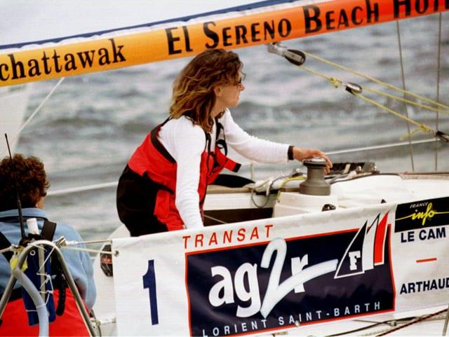 Die französiches Skipperin Florence Arthaud beim Start einer Regatte im April 2013. (reuters)