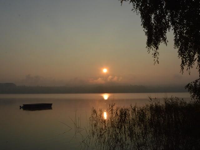 Sonne geht über dem See und wenigen Nebelschwaden auf