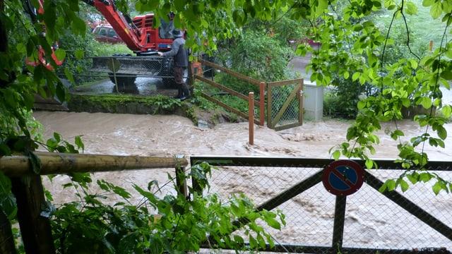Hochwasser in Pratteln am 8. Juni.