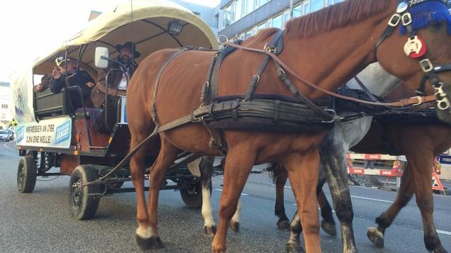 Kutsche mit Pferden auf einer Strasse.