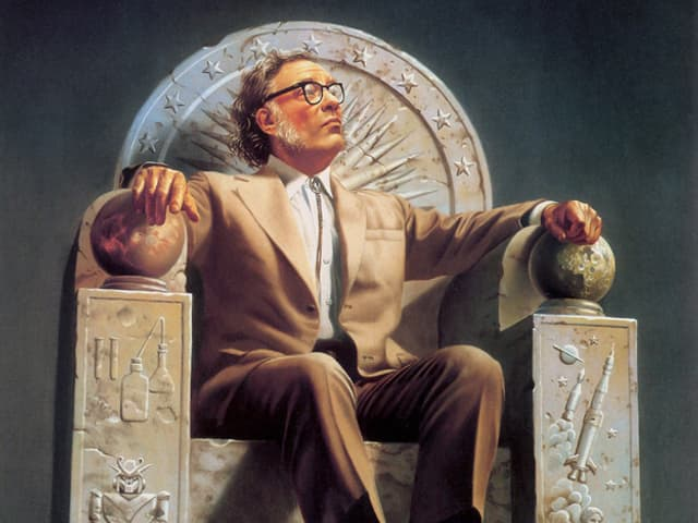 Bild von einem Mann in braunem Anzug, der auf einem steinernen Thron sitzt, der mit Science-Fiction-Symbolen verziert ist.