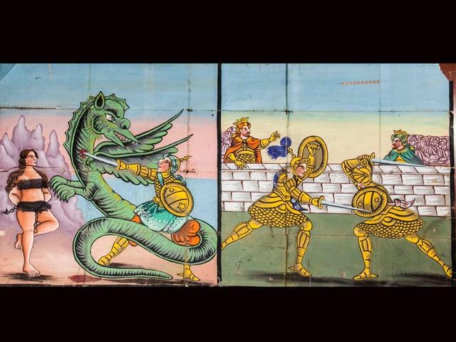 Zeichnung mit Drachen, Drachentöter, Schwerzkämpfern