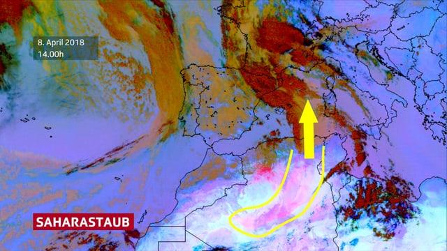 Satellitenbild von Europa und Nordafrika.