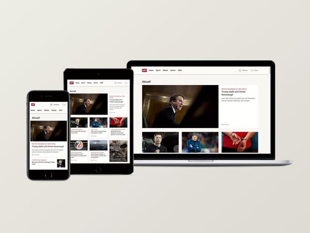 Die Homepage auf Handy, Tablett und PC