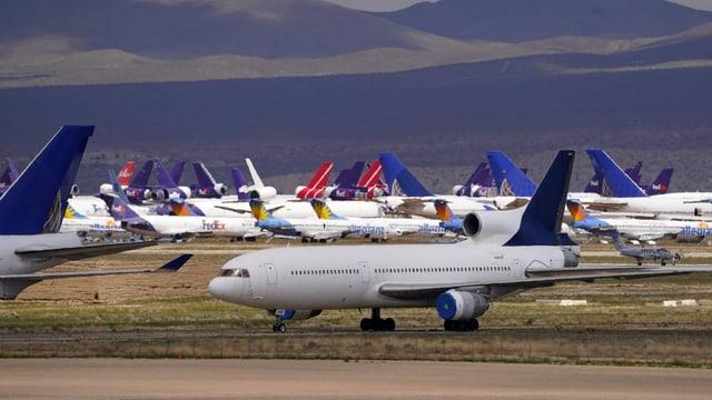 Geparkte Flugzeuge in den USA.