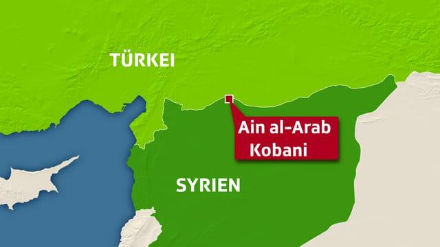 Karte zeigt Grenzstadt Ain al-Arab (kurdisch: Kobani) zwischen Syrien und Türkei