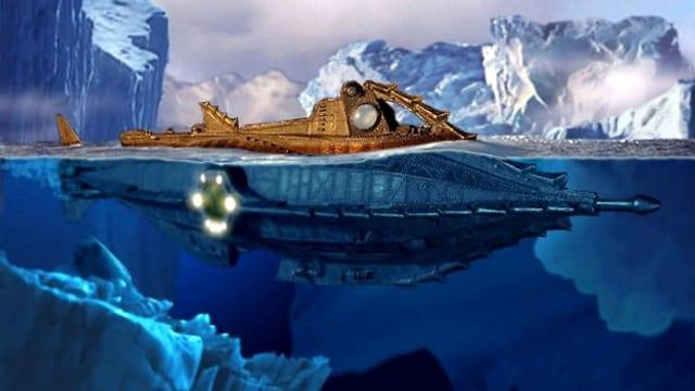 U-Boot im blauen Meer.