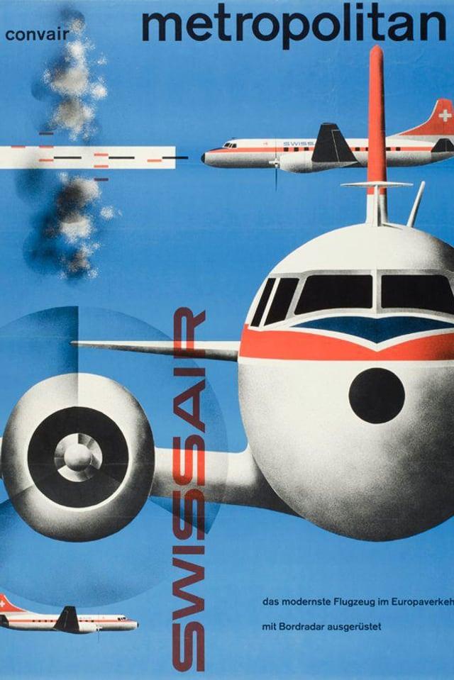Plakat mit Flugzeug von vorne