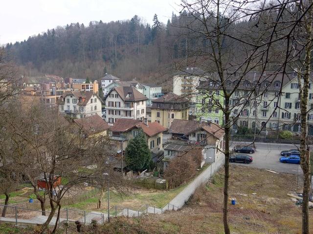 Alte Häuser und daneben Grünfläche.