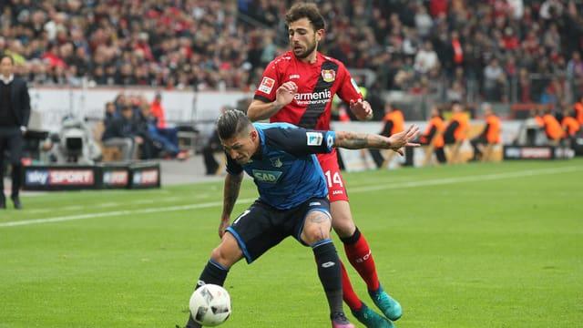 Leverkusens Mehmedi gegen Hoffenheims Zuber.