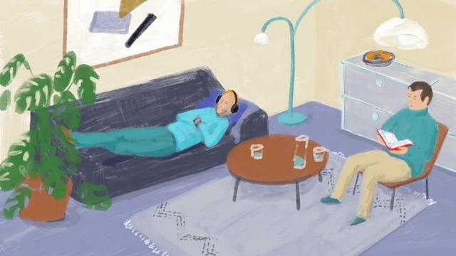 Illustration einer Person, die mit Kopfhörern auf einer Couch liegt, daneben sitzt ein Mann mit Buch in der Hand auf einem Sessel.