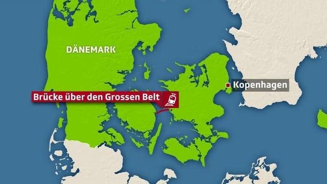 Karte Dänemark und Lokalisierung Brücke.