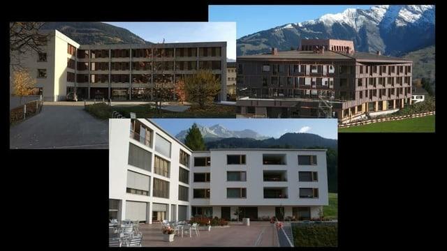 Las chasas (da san.) Puntreis (Mustér), Casa S. Martin (Trun) e Da Casa Val Lumnezia (Vella) collavuran gia stretg.