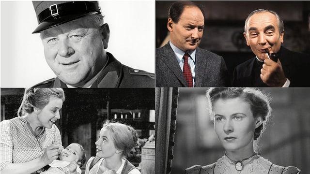 Das Bild zeigt Ausschnitte aus vier Schweizer Filmklassikern.